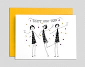 Happy New Year card // New Year's celebration greeting card