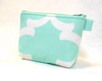 Clearance SALE Mint Green White Quatrefoil Fabric Bridesmaid Gift Cosmetic Bag Zipper Pouch Makeup Bag Gadget Pouch Flynn Lattice Aqua