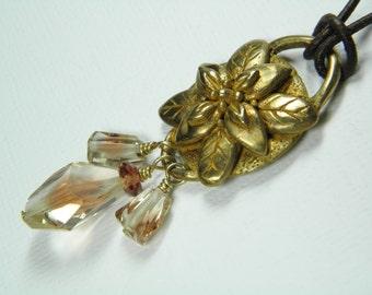 Oregon Sunstone Bronze Clay - long necklace - pendant - 24 inch greek leather cord - handmade - OOAK