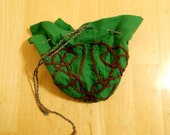 Celtic Knot Embroidery Drawstring Purse - Brown and Green
