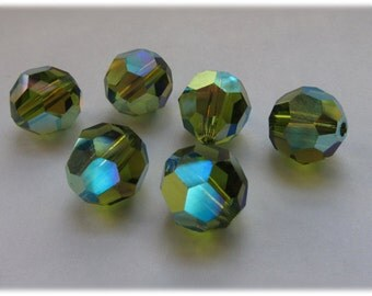 10mm Olivine AB Swarovski Round Beads - (8)
