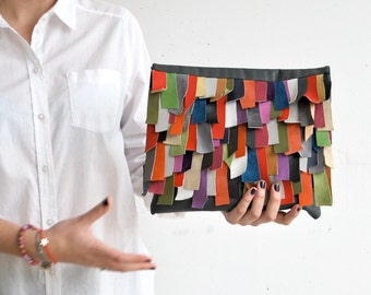 Leather bag, women handbag, colorful handbag, multicolor clutch bag, grey large bag, charcoal large clutch