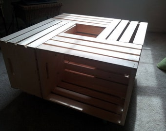 Wood crate coffee table as seen on pinterest