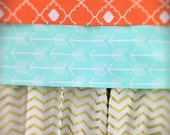 Coral, Gold  and Mint baby bedding custom made in the USA  includes bumper set, fitted sheet and crib skirt