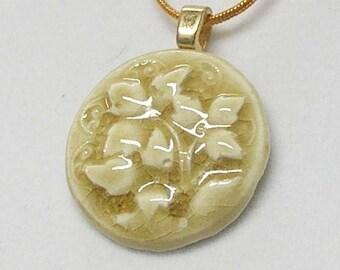 Sandy Beige Floral Porcelain Necklace