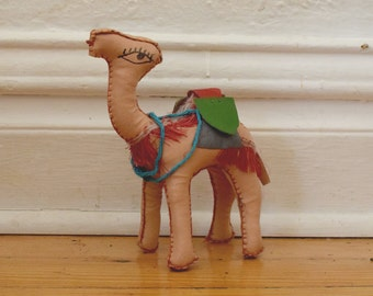 vintage stuffed hand stitched leather toy camel