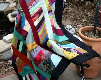 Vintage Silk and Satin Throw / Lap Quilt / Wall Hanging