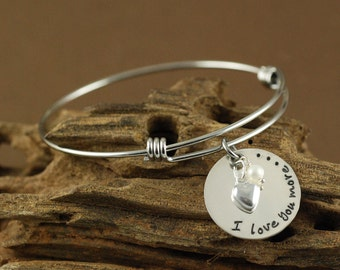 I Love You More Bracelet, Silver Heart Bracelet, Personalized Bangle Bracelet, Charm Bracelet, Hand Stamped Bangle Bracelet