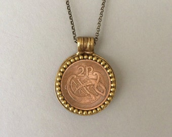 IRELAND - One of a Kind Irish Coin Necklace - Reversible