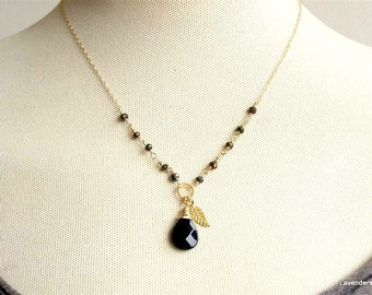 Black Onyx  Necklace , Pyrite Necklace , Gold Necklace , Leaf Necklace , Wire wrapped Chain