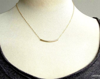 Bar Necklace , Gold Curved Tube Bar Necklace  , Gold Fill , Modern Minimalist , Everyday Jewelry