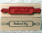 Baked by Rolling pin rubber stamp from oldislandstamps