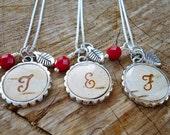 Birch Bark Bridesmaids Necklaces - Personalized Bridesmaids Necklace - Rustic Initial Necklace - Silver and Dark Red Birch Bark Jewelry