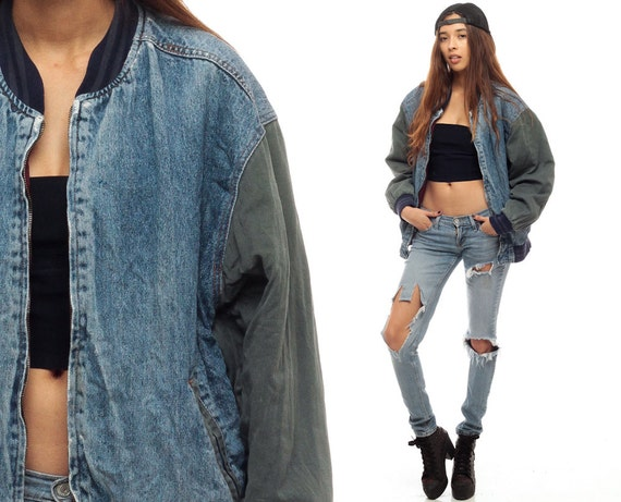 Baseball Jacket 80s DENIM Jacket Varsity 90s Jean Sport Coat