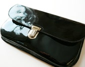 SALE Black Patent Leather Clutch
