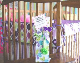 Hair Bow Holder, Hair Bow Organizer, Purple Daisy Fabric,  Hair Bow Accessory, Freestanding Magnet Organizer