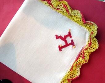 "Vtg  White  Hanky/Handkerchief  Embroidered ""K""  Mauve  Monogram Yellow & Mauve   Crocheted Edging"