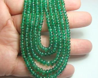 Zambian Smooth Emerald Beads Full Strand 16 Inch