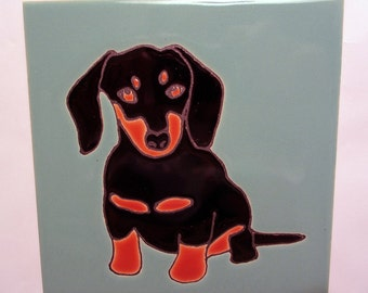 6 x 6 Two Tone Dachshund Porcelain Tile with Easel