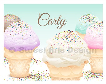 Ice Cream Cones  -  Wall Print  (or)  Greeting Cards