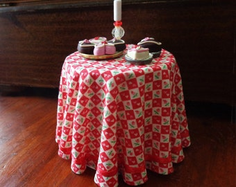 1/12 Scale (Dollhouse) Red Hearts and Rosebuds Valentine Cloth Covered Table with Red Satin Ribbon Trim - Indoor Fairy Garden