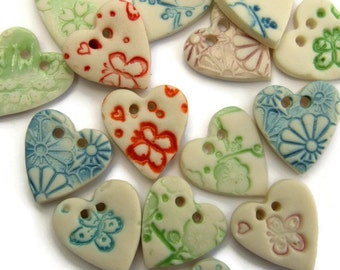 Heart Buttons - Scrapbook Embellishments - Buttons for Sewing - Handmade heart shape  button - Heart embellishments -  Buttons UK