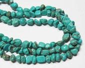 "15"" Gemstone STRAND - Howlite Beads - Small Organic Nuggets - Light Turquoise Blue (15"" strand ~58 beads) - str985"