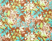 Turquoise Lime Leaf Print Cotton Fabric 1/2 yd