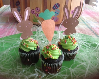 Bunnies and Carrots Easter Cupcake Toppers II - Pkg of 12