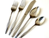 International Silver American Stainless American Flair Pattern Flatware 40 Pc Set / Service for 5 Plus Hostess and Extras