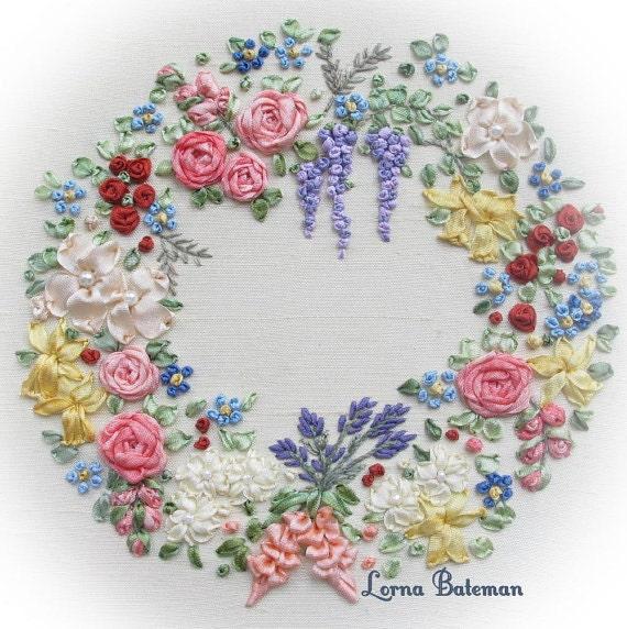 Miniature wreath of silk ribbon flowers pattern print