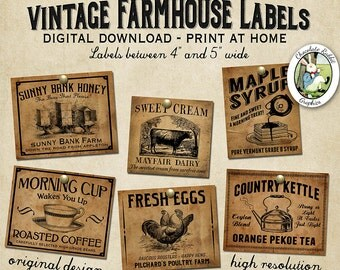 Vintage Country Farmhouse Primitive Prim Labels Digital Download Printable DIY Tags Scrapbook Graphics Collage Sheet Clip Art Retro Images
