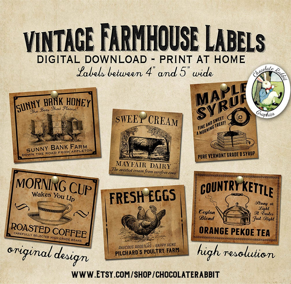 Vintage Country Farmhouse Primitive Prim Labels Digital