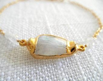 Moonstone bracelet - gold bracelet -  K A T E 013