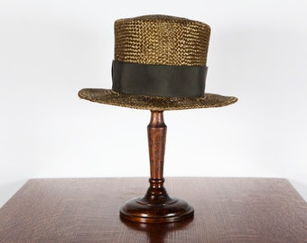 Jethro Hand Dyed Sisal Straw Top Hat/Tall Boater w/ wired brim-Androgynous Style