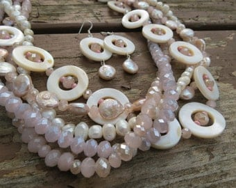 White Mother of Pearl Shell, Coin Pearls, and Potato Pearls with Soft Pastel Colored Crystals