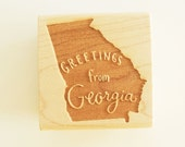 Greetings from Georgia State Original Hand Lettered Rubber Stamp