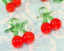 4 GLASS Cherries with Green Stem Charms Handmade 3D Chunky Wine Marker Jewelry Supplies Bulk Beads Fruit Dangles Pendants Summer Jewelry