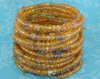 6 Iridescent Topaz Beaded Bracelet Set Stretch Memory Wire Stocking Stuffer Party Favor Bridesmaid Gift Valentine's Day Bulk Bangles