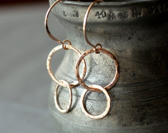 rose gold hammered circle drop earrings | classic hammered rose gold earrings | circle dangle earrings