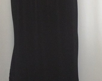 Plus Size Skirt Coco and Juan Plus Size Lagenlook Black Traveler Knit Skirt with Ruffled Trim Size 2, fits size 3X,4X