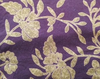Brown and Gold Vine Fabric, Cotton fabric, 15X36 inch cut, fabric remnant, quilt fabric