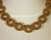Beadwork - Gold Chain Linked Beadwoven Seed Bead Necklace