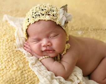Lacy Newborn Baby Layering Set Knit Boy Photo Prop Girl Bonnet Yellow Coming Home Outfit Organic Texture Spring Knitted Cap Going Easter Hat
