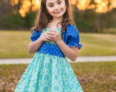 "Magical Aqua Blue & Green ""Into The Woods"" Peasant Party Dress - Girls - Ruffles - Birthday - Special Occasion - Spring - Patterned - Frills"
