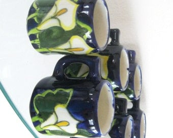 Vintage Talavera Tequila Glasses Mugs Lily Mexico Hand Painted Blue Green Orange Set of Six