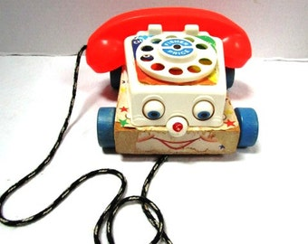 CHOICE Original 1962 Vintage Telephone Pull Toy, What's That Mom? Fisher Price Chatter Phone Child Safe Rolling Eyes Smile Classic Nursery