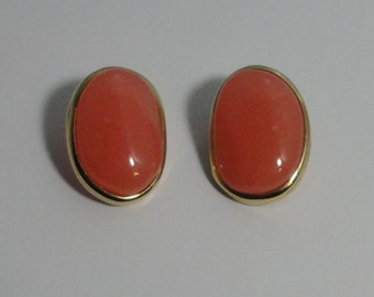 1980s Givenchy Peach Faux Stone Clip Earrings.