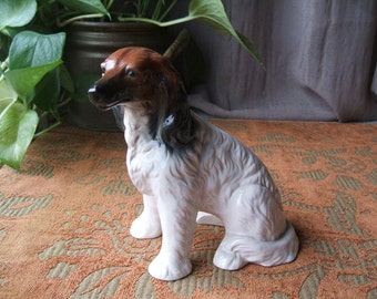 Collectible Brinn Porcelain Dog Figurine, Borzoi,Russian Wolfhound, Long Wavy hair, Tri Colored