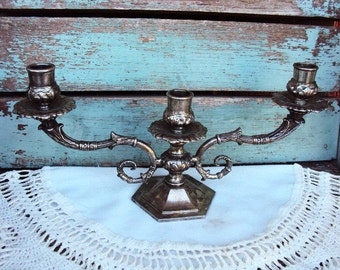 Vintage Silver Plate Candelabra Candle Holder Italian Italy W A  Baroque Ornate 3 Arms French Chic
